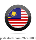 Flag of Malaysia. Shiny black round button. 29228003
