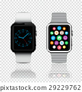 Smart watches with icons and clock face on screen 29229762