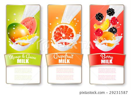 Set of three labels of of fruit in milk splashes. 29231587