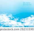 Vector blue sky panorama with transparent clouds. 29231590