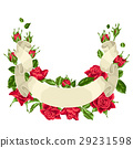 Decorative ribbon with red roses. Beautiful 29231598