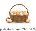 Chicken eggs in rattan basket 29232078
