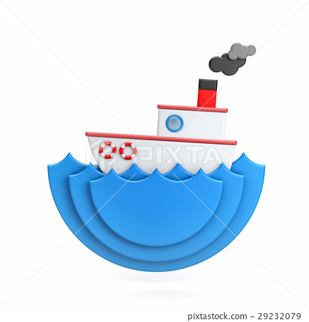 The boat floats on the waves - miniature 29232079