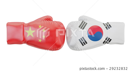 Boxing gloves with South Korea and China flags 29232832