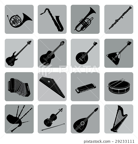 Musical instruments icon set. Folk music signs 29233111