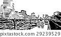 Black and white painting - Duesseldorf skyline 29239529