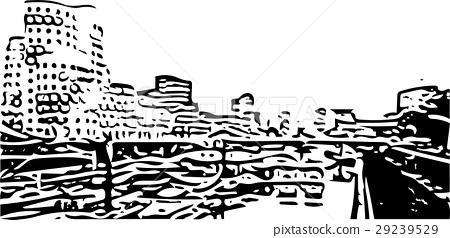 Black and white painting - Duesseldorf skyline 29239529