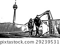 Black and white painting - Duesseldorf skyline 29239531