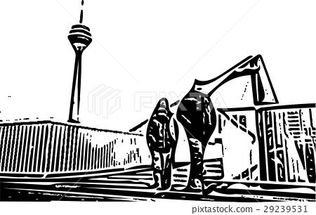 Black and white painting - Duesseldorf skyline 29239531