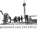 Black and white painting - Duesseldorf skyline 29239532