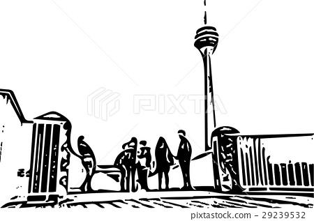 Black and white painting - Duesseldorf skyline 29239532