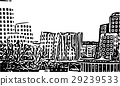 Black and white painting - Duesseldorf skyline 29239533
