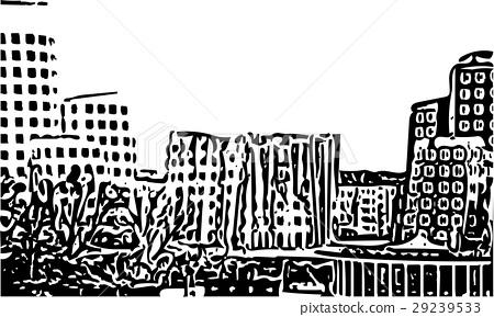 Black and white painting - Duesseldorf skyline 29239533