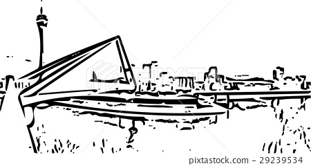 Black and white painting - Duesseldorf skyline 29239534