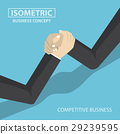 Isometric businessman hands doing arm wrestling 29239595