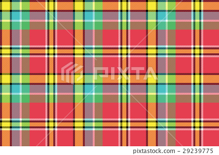 Red yellow check plaid seamless fabric texture - Stock