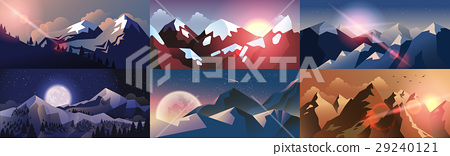 Set background mountain landscape in flat style 29240121