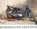 flame burned motorcycle from explosive in training 29242058