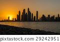 Tall Dubai Marina skyscrapers from Palm island 29242951
