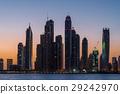 Tall Dubai Marina skyscrapers from Palm island 29242970