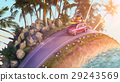 Car driving during sunset - cartoon stilization 29243569