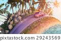 Car driving during sunset - cartoon stilization 29243569