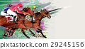 Horse racing over grunge background 29245156