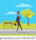 Stroll in City Park Flat Vector Illustration 29245297