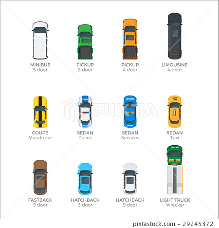 Modern Vehicle Transport Top View Vector Icons Set 29245372