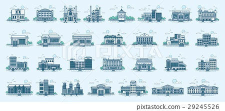 Vector set isolated icons architecture buildings 29245526
