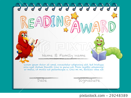 Reading Certificate Template With Bird Book Stock Illustration