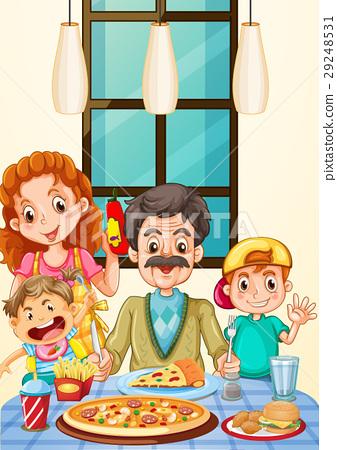 Family having pizza for dinner 29248531