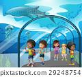 Children looking at fish in aquarium 29248754