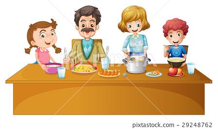 Family members having dinner at the table 29248762