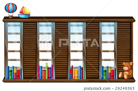 Wooden shelf with books and toys 29249363