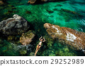 girl in bikini swimming in the sea aerial top view 29252989