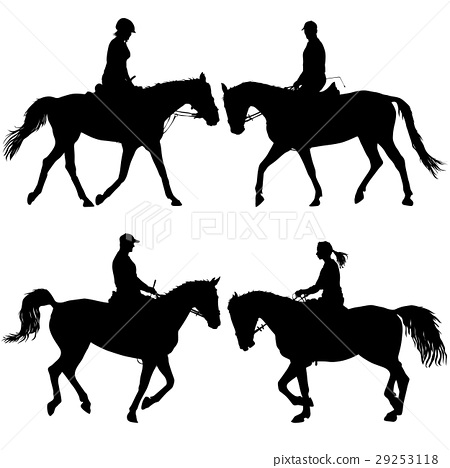 Set vector silhouette of horse and jockey 29253118