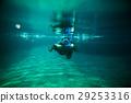 girl swim underwater pool with snorkel 29253316