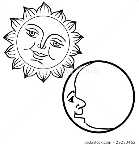 Moon And Sun With Faces Day And Night Symbols Stock Illustration