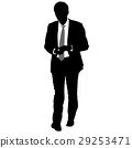 Silhouette businessman man in suit with tie 29253471