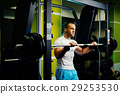 handsome fitness man weightlifting workout in gym 29253530