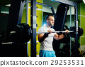 handsome fitness man weightlifting workout in gym 29253531