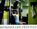 handsome fitness man weightlifting workout in gym 29253532