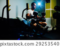 handsome fitness man weightlifting workout in gym 29253540