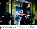 handsome fitness man weightlifting workout in gym 29253543