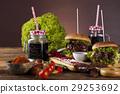 Fresh burger closeup on wooden desk background 29253692
