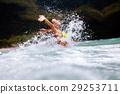 happy girl sea waves splash 29253711