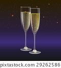 Champagne glasses and streamer with on dark 29262586