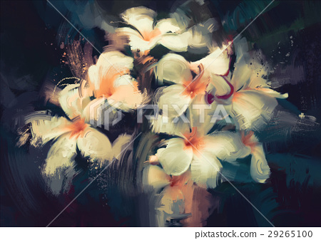 beautiful white flowers in dark background 29265100