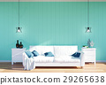 Living room interior with empty wall panel 29265638